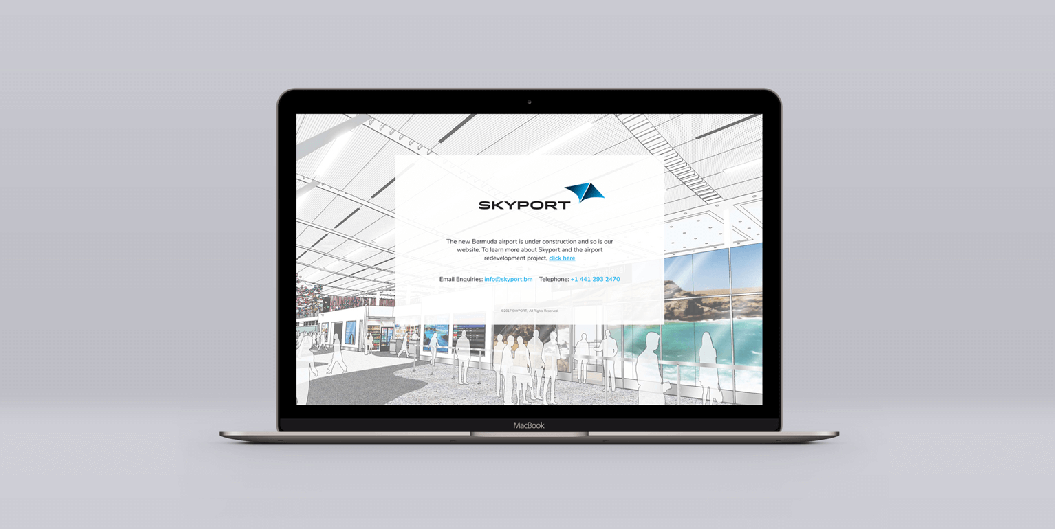 Skyport website on laptop