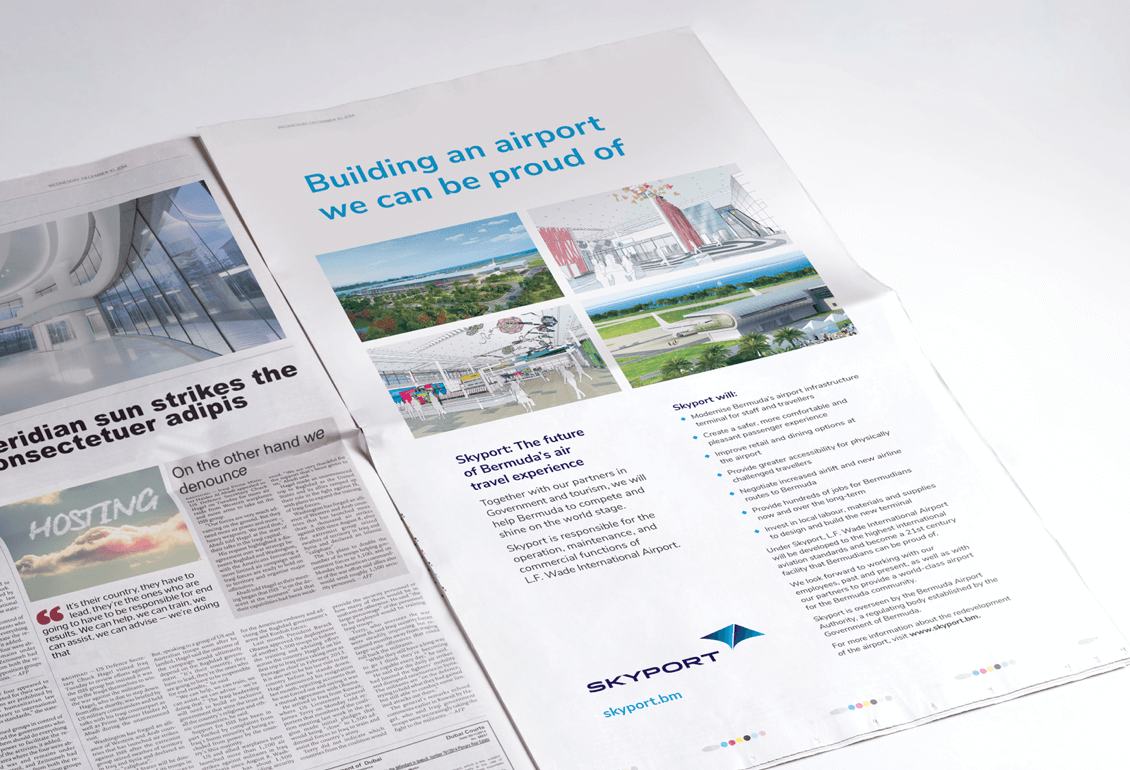 Skyport ad in newspaper